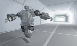 Robot runs on the space corridor royalty free illustration