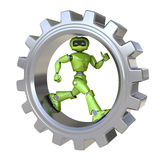 Robot runs inside gear. Isolated on white background Stock Photos
