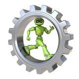Robot runs inside gear royalty free illustration