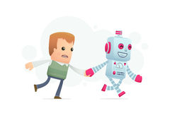 Robot runs with a man. Conceptual illustration Stock Photos