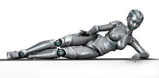 Robot s'étendant sur le bord de vue - avec le chemin de découpage Photos stock