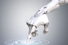 Robot's hand is pushing the button. Clipping path included Stock Photo