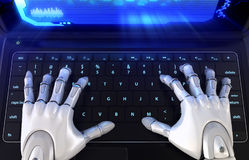 Robot` s handen die op toetsenbord typen vector illustratie