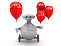 Robot with sale balloons stock photography