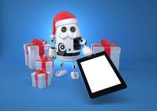 Robot Santa che mostra il computer della compressa dello schermo in bianco royalty illustrazione gratis