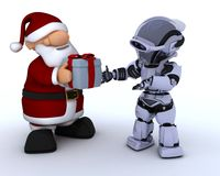 Robot and santa claus Stock Image