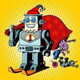 Robot Santa Claus Christmas gifts humor character Stock Photos