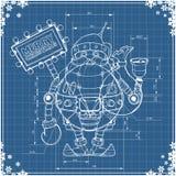 Robot santa del dibujo de ingeniería en el papel azul Imagen de archivo