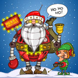 Robot Santa and elf with remote control Stock Photos