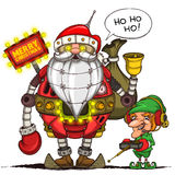 Robot Santa and elf with remote control. Isolated Stock Photography