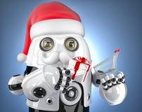 Robot Santa holding a shopping cart. Christmas concept. Contains. Clipping path Stock Photo