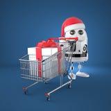 Robot Santa with shopping cart. Technology concept Royalty Free Stock Photos