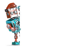Robot Santa showing blank banner. Christmas concept. . Contains clipping path Stock Photo