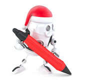 Robot Santa writes something with a pen. Isolated. Contains clipping path Stock Photography