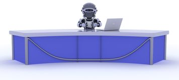 Robot sat at a desk reporting the news. 3D render of a robot sat at a desk reporting the news Royalty Free Stock Photography