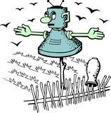 Robot scarecrow Stock Images