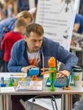 Robot School booth at CEE 2017 in Kiev, Ukraine Stock Photography