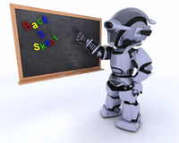 Robot with school chalk board Royalty Free Stock Photography
