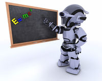 Robot with school chalk board stock illustration