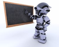 Robot with school chalk board back to school Royalty Free Stock Image