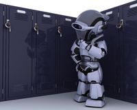 Robot with school locker Royalty Free Stock Photos