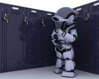 Robot with school locker Royalty Free Stock Photos