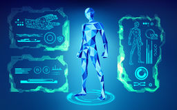 Robot. Scientific interface; futuristic backdrop; abstract technology background; blue digital theme; polygon man in technological looks; low poly human in Royalty Free Illustration