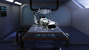 Robot and scifi room Stock Image