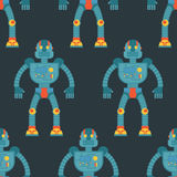 Robot seamless pattern. Background of technological machines wit. H artificial intelligence. Texture of retro cyborgs for baby tissue Royalty Free Stock Photos