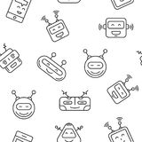 Robot Seamless Pattern. Cartoon character cute Robot Seamless Pattern outline stroke pictogram Illustration on White Background. Face robot pattern for Stock Image