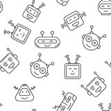 Robot Seamless Pattern. Cartoon character cute Robot Seamless Pattern outline stroke pictogram Illustration on White Background. Face robot pattern for Royalty Free Stock Image