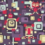 Robot seamless pattern in cartoon style. Royalty Free Stock Photography