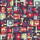 Robot seamless pattern in puzzle Stock Photo