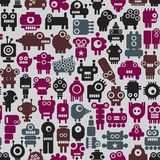 Robot seamless pattern in retro style. Stock Image
