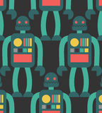 Robot seamless pattern. Retro toy background. Texture Vintage Cy. Borgh Royalty Free Stock Image