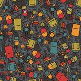 Robot seamless texture on dark background. Royalty Free Stock Images