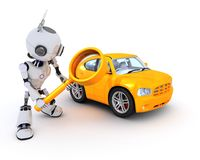 Robot searching for a car Royalty Free Stock Image
