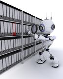 Robot searching documents Royalty Free Stock Images