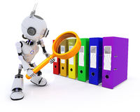 Robot searching files. 3D Render of a Robot searching files Royalty Free Stock Photos