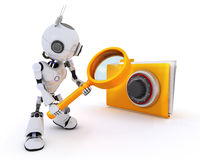 Robot searching files. 3D Render of a Robot searching files Stock Photography