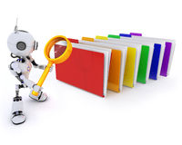 Robot searching files. 3D Render of a Robot searching files Stock Image