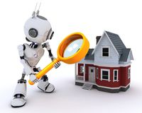 Robot searching for a house Stock Photography