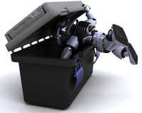 Robot searching a toolbox Royalty Free Stock Photos