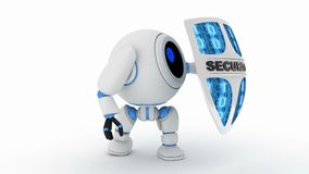 Robot and security shield, seamless loop and alpha channel. 3d render stock footage