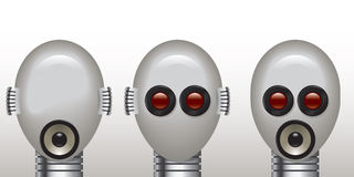 Robot see no evil, speak no evil, hear no evil. Robotic see no evil, speak no evil, hear no evil. Heads with lens, loudspeaker and mics in place of eyes, mouth Stock Photos