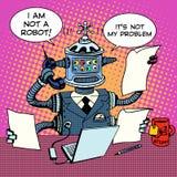 Robot sekretarka na telefonu biznesu pojęciu Zdjęcia Royalty Free