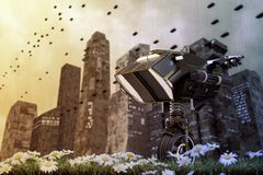 Robot sentinel on a green field Royalty Free Stock Image