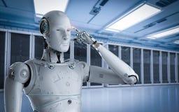 Robot in server room. 3d rendering robot working in server room stock illustration