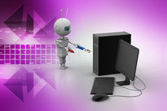 Robot service the computer. In color background Stock Photos
