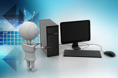 Robot service the computer Stock Images